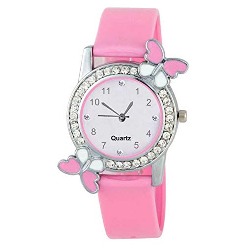 Dainty Pink Stylish Diamond Studded Butterfly Watch - for Girls