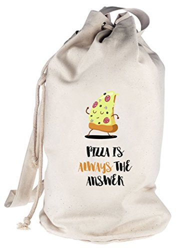 Pizza Nerd bedruckter Seesack Umhängetasche mit Pizza Is Always The Answer Motiv von ShirtStreet Natur