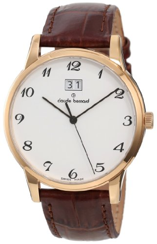 Claude Bernard Men's 63003 37R BB Classic Gents Rose Gold PVD White Dial Leather Date Watch