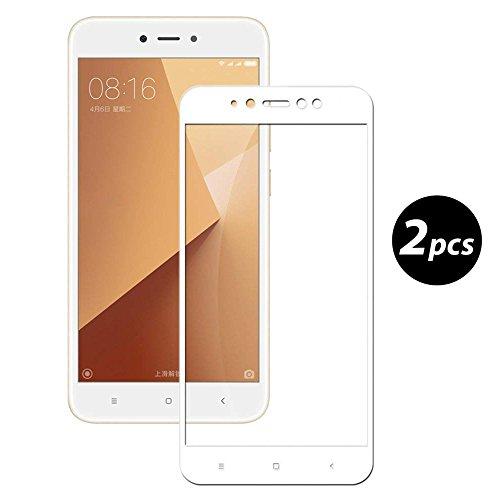[2-Unidades] EUGO Xiaomi Redmi Note 5A Prime Protector de Pantalla, Alta Definicion No hay Burbujas Vidrio Templado HD Film Protector de Pantalla Screen Protector Cobertura Completa Blanco