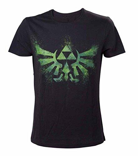 Nintendo T-Shirt -L- Grünes Zelda Logo, Schwarz [Importación Alemana]