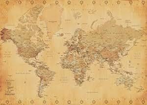 Carte du monde, vintage - 91 x 61 cm
