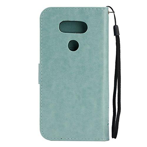 SainCat Coque Etui pour LG G5, LG G5 Coque Dragonne Portefeuille PU Cuir Etui, Coque de Protection en Cuir Folio Housse, SainCat PU Leather Case Wallet Flip Protective Cover Protector, Etui de Protect Relief papillon,vert