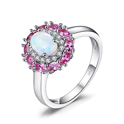 JewelryPalace Fashion 0.6ct Erstellt Opal Cluster Halo Ring 925 Sterling Silber
