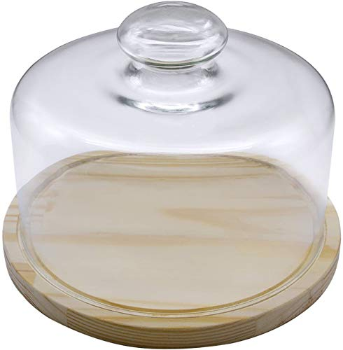 Quesera Redonda con Tapa de Cristal - Caja Queso Base de Madera - Ideal para Conservar Frescos tus Quesos - Diámetro Ø 25cm