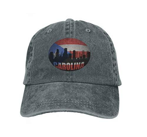 Unisex Baseball Cap Trucker Hat Adult Cowboy Hat Hip Hop Snapback Abstract Silhouette City Text Carolina Vintage Puerto Rican Carbon