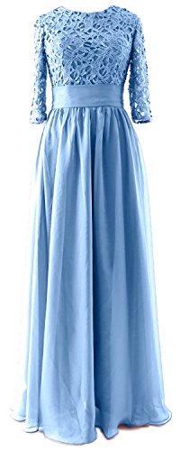 MACloth - Robe - Trapèze - Manches 3/4 - Femme Bleu - Bleu ciel