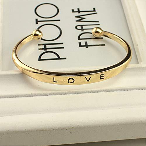 SEVENHOPE Frauen Männer lieben Schriftzug Manschette offenes Armband Armreif, Vintage Knöchel Armband Schmuck Rose Gold Farbe (Rose Knöchel-armband Gold)