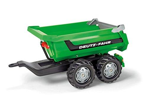 Rolly Toys 122240 Halfpipe Deutz-Fahr | Kippanhänger mit kippbarer Heckklappe | Zweiachsanhänger | ab 3 Jahren | Farbe grün | TÜV/GS geprüft