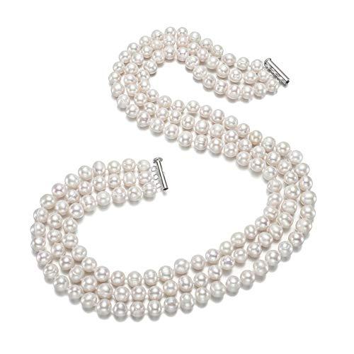 Elegante und klassische Halskette mit Süßwasserperlen, 9-10 mm, Weiß
