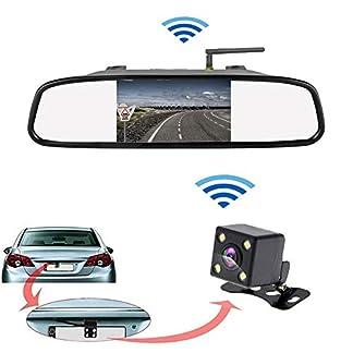 Camecho-Kabellose-Rckfahrkamera-Spiegelmonitor-IR-Nachtsicht-Wasserdichte-Rckfahrkamera-43-Zoll-HD-Bildschirm-Spiegel-Video-Display-fr-12-V-Fahrzeug-Parken