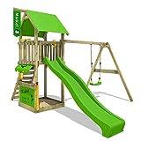 FATMOOSE Spielturm MagicMarket Master XXL Kletterturm mit Schaukel Baumhaus Holz, apfelgrüne Rutsche