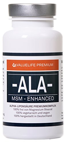 ALA-MSM Enhanced: 400mg R+Alpha-Liponsäure + S-Alpha-Liponsäure I angereichert mit 200mg MSM organischem Schwefel, Vitamin B6 & B12 I 120 Kapseln