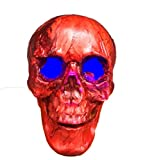 Zhang New Halloween Horror Scary Scary Haunted House With A Light Chamber Mummified Skull Decorative Props Ornaments 17 (Color : Red)