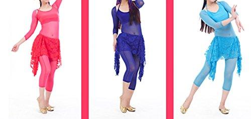 Tanzkleidung Damen Bauchtanz Hüfte Schal Lace for Bauchtanz Rock Tanzen bauchtanzkostüme Light Blue