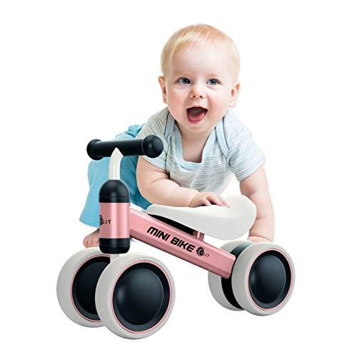 YGJT Kinder Laufrad Spielzeug für 1 Jahr TÜV geprüft Baby Dreiräder Erst Geburtstag Geschenk Fahrrad Für Jungen Mädchen 10-24 Monate Rosa