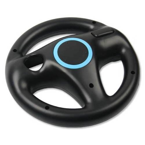 AMEEGO Steering Wheel Design Stand Mario Kart Racing Game Steering Wheel Stand For Wii Game Controller (Black)