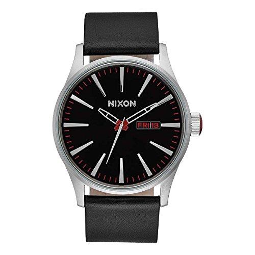 Nixon A105000-00 – Reloj analógico de cuarzo para hombre con correa de piel, color negro