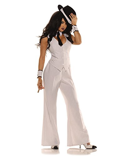 Preisvergleich Produktbild Erwachsene Mob Boss Lady Kostüm Gr. XL, White with Pin-Stripe