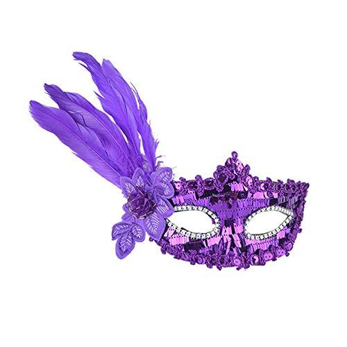(Fuxitoggo Halloween Sexy Feder Pailletten Elegante Augenmaske Maskerade Ball Karneval Fancy Party (Farbe : Lila))