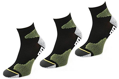 COMODO® RUN1 - Set de 3 CALCETINES del RUNNING (Campo a través Maratón), Comodo/Mondo-Calza Farbe:Black / Green;Comodo/Mondo-Calza Größen:39-42