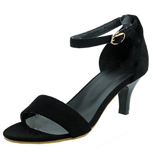 TAOFFEN Damen Klassischer Trichterabsatz Ankle strap Sandalen Mit Absatz Schwarz