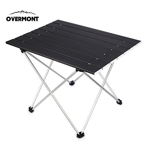 Overmont Aluminium Tragbar Klapptisch Campingtisch klappbar Tisch für Camping Garten Wandern Picknick Reisen Angeln Mehrfarbig M/L mit Aufbewahrungstasche
