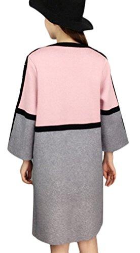 MILEEO Femme gilet tricoté élégante longue au genou modif cardigan laché sweater manches 9/10 longues Rose