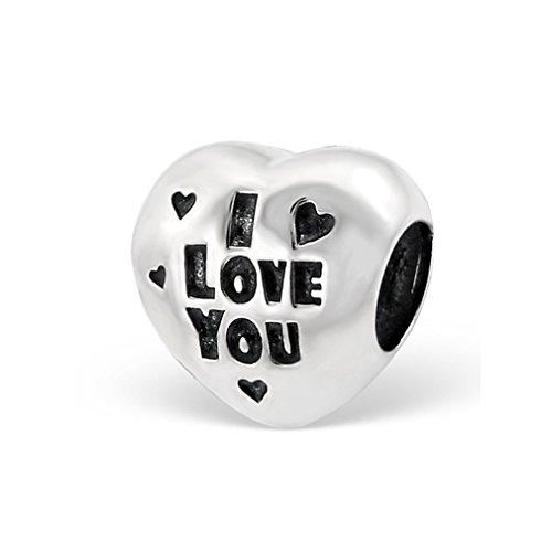 Liara Herz Ich liebe dich Plain Bead 925 Sterling Silber.Poliert und Nickelfrei