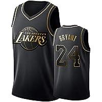 DCE Jersey de Hombre Kobe Bryant NO. 24 Los Angeles Lakers Camisetas de Verano Uniforme de Baloncesto Bordado Tops Camisetas de Traje de Baloncesto Oro Negro Jersey (Nero & Oro, M(48))