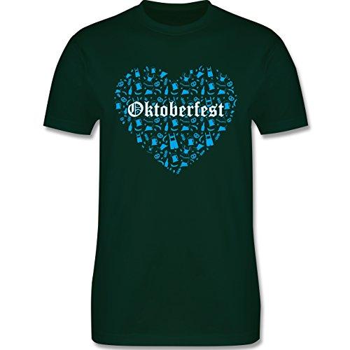 Oktoberfest Herren - Oktoberfest Herz - Herren Premium T-Shirt Dunkelgrün