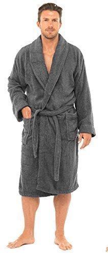 Herren Luxus 100% Baumwoll-frottee Bad Robe Bademantel Gewickelt Nachtwäsche HT566 - grau, Medium / Large - Luxus Nachtwäsche