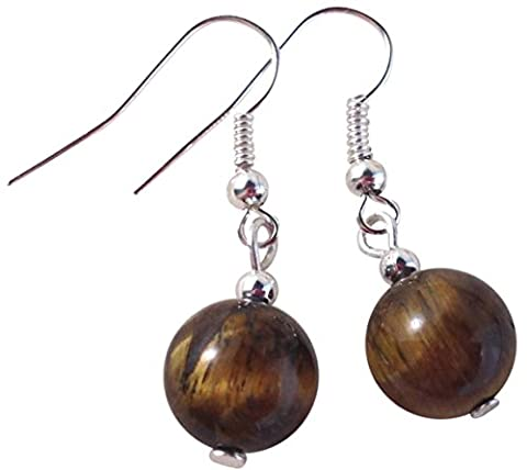 HH Jewellery TIGER EYE EARRINGS Round 10mm Beads on Nickelfree Silver Tone Hooks