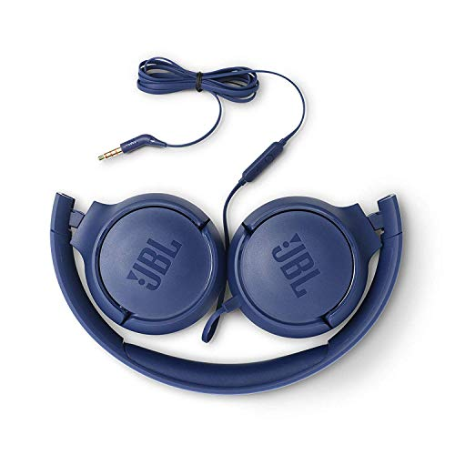 JBL Tune 500 Powerful Bass On-Ear Headphones with Mic (Blue) Image 3