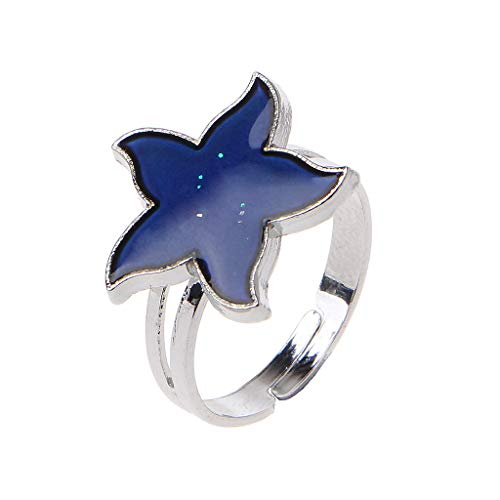 Eliky Cartoon Sea Starfish Stimmung Ring Temperatur Emotion Gefühl Ringe Für Frauen Kinder - Stimmung Kinder Ringe