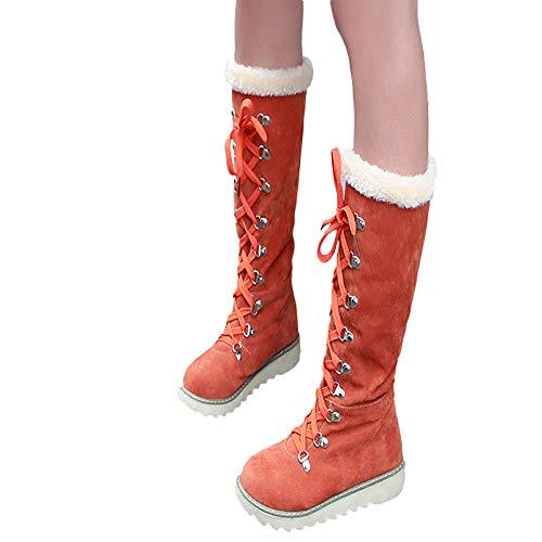 ❤️ Botas de Nieve para Mujeres, Zapatos de Mujer Plataforma con Cordones La Rodilla Antideslizante Punta Redonda Martin Snow Boots Tubo Alto Invierno Absolute