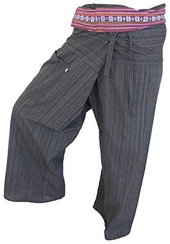 by soljo - Pantalon de coton de pantalon de pêcheur Pantalon Wrap Yoga Sport Fisherman Fisherpant Thaïlande Asie 16 couleurs (noire)