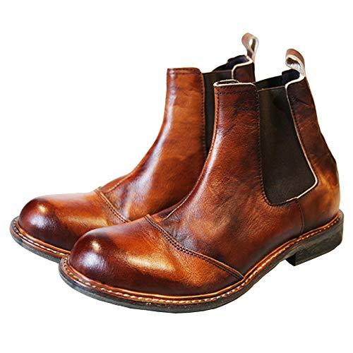 Braun Rindsleder Western-boot (WKNBEU Chelsea Boots Herren Braun Echtleder Vintage Business Formelle Hochzeit Martin Booties Büroarbeit Nicht Slip Erwachsene Ankle Boot,Brown-EU40.5/41=UK7=Labelsize41)