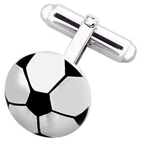 Select Gifts Sterling 925 feste silberne Fußball-Fußball-Manschettenknöpfe mit eingraviertem Box (Monogrammiert Schmuck-box)