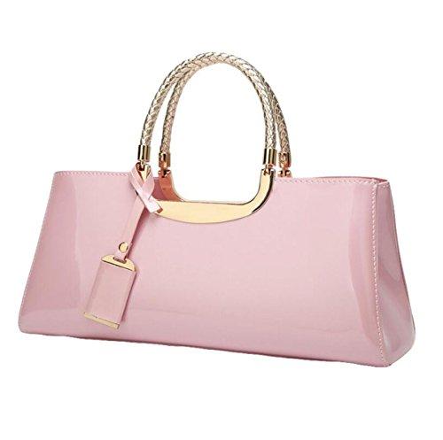 Damen-Tasche Mode Leder Lackleder Handtasche Umhängetasche Exquisite Reißverschluss Luxus Pink