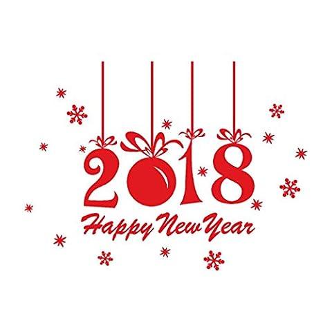 Stickers muraux,OVERMAL 2018 - Bonne AnnéE Joyeux NoëL Mur Autocollant Accueil Vitrines Autocollants Decor (Rouge)