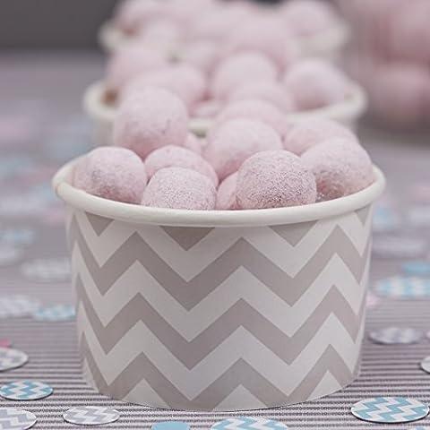 Ginger Ray, colore: grigio dolce %2F ciotole per gelato da festa, motivo: zig zag, colore: divine