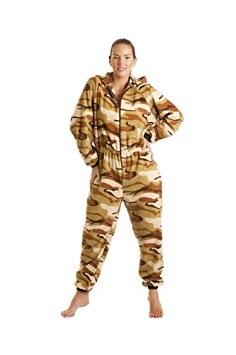Combinaison pyjama à capuche en polaire - motif camouflage - femme - sable - taille 38 à 52 Beige
