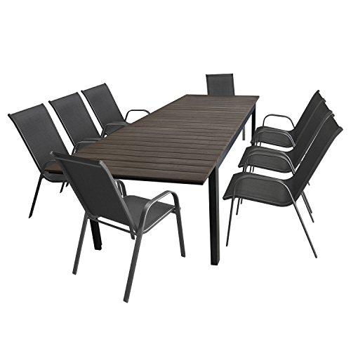 Multistore 2002 9tlg. Gartengarnitur Gartenmöbel Set Aluminium Polywood Ausziehtisch Gartentisch 280/220x95cm + 8X Stapelstuhl Textilenbespannung - Sitzgarnitur Sitzgruppe