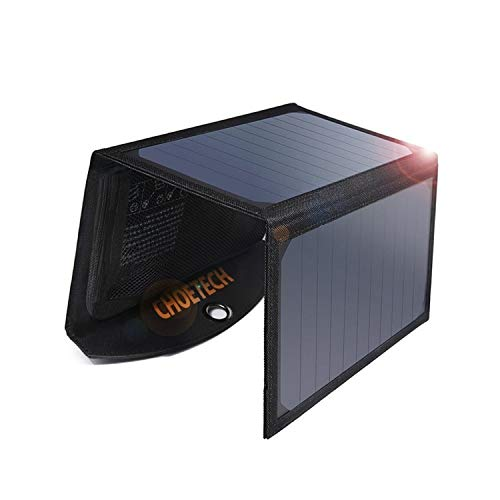 Solar Ladegerät CHOETECH 19W Regenbestädiges & Faltbares Solarpanel Outdoor Charger mit 2 USB-Ports für Alles Handys, iPad, Kamera, Tablet, Bluetooth Lautsprecher usw.