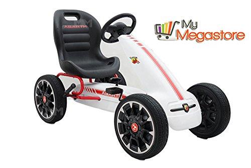 Gokart ABARTH Tretfahrzeug Racing-Design mit Eva Reifen Rennkart Gocart Kinder Tretauto Cart Gokart Kettler Kettcar (Weiß)