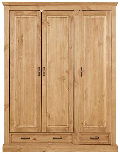 Loft 24 A/S Kleiderschrank Dielenschrank Schrank Schlafzimmerschrank Türen Landhausstil Kiefer Massivholz (gebeizt geölt, 3 Holztüren, 148 x 58 x 190 cm)