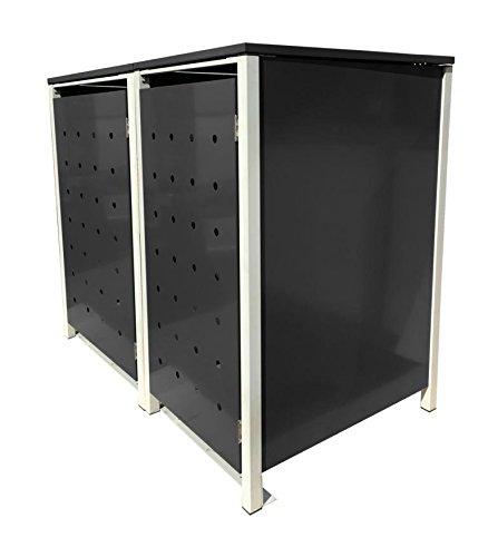 BBT@ | Hochwertige Mülltonnenbox für 2 Tonnen je 240 Liter mit Klappdeckel in Schwarz / Aus stabilem pulver-beschichtetem Metall / Stanzung 7 / In verschiedenen Farben sowie mit unterschiedlichen Blech-Stanzungen erhältlich / Mülltonnenverkleidung Müllboxen Müllcontainer - 2