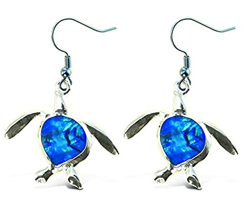 Aqua Jewelry - Earrings - Dangle Post - Fish Hook - Sea Turtle