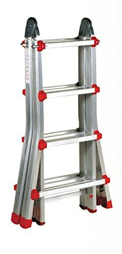 Nawa Escalera Telescópica Multiuso Plegable Profesional de Aluminio. Perfecta para realizar trabajos en desnivel! Carga máxima 150 kg. Hecho en Europa (4+4)